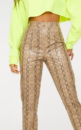 Taupe Faux Leather Snake Print Slim Leg Trousers 5