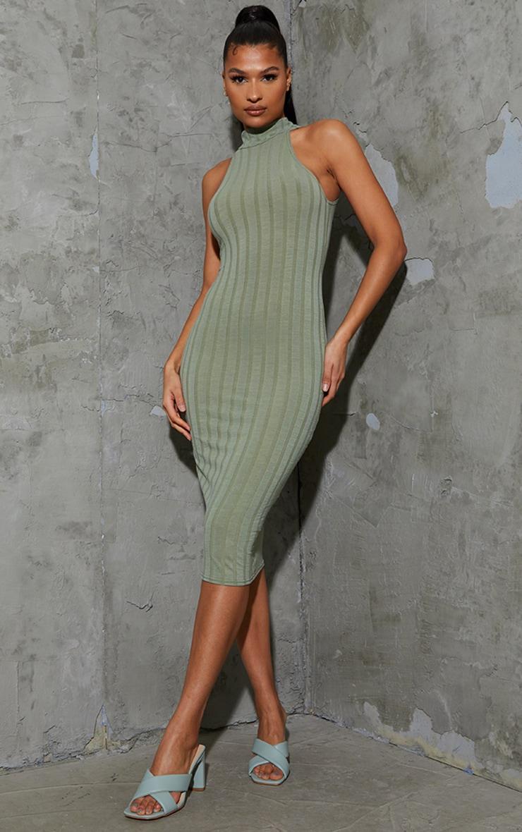 Olive Thick Rib High Neck Sleeveless Midi Dress