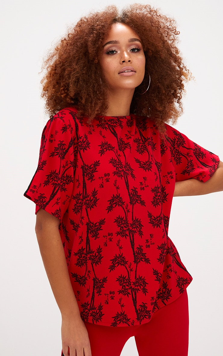 Red Oriental Print Oversized T Shirt  1