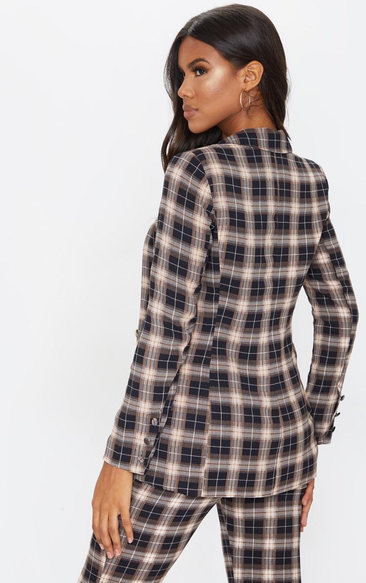 Black Check Print Longline Blazer 2