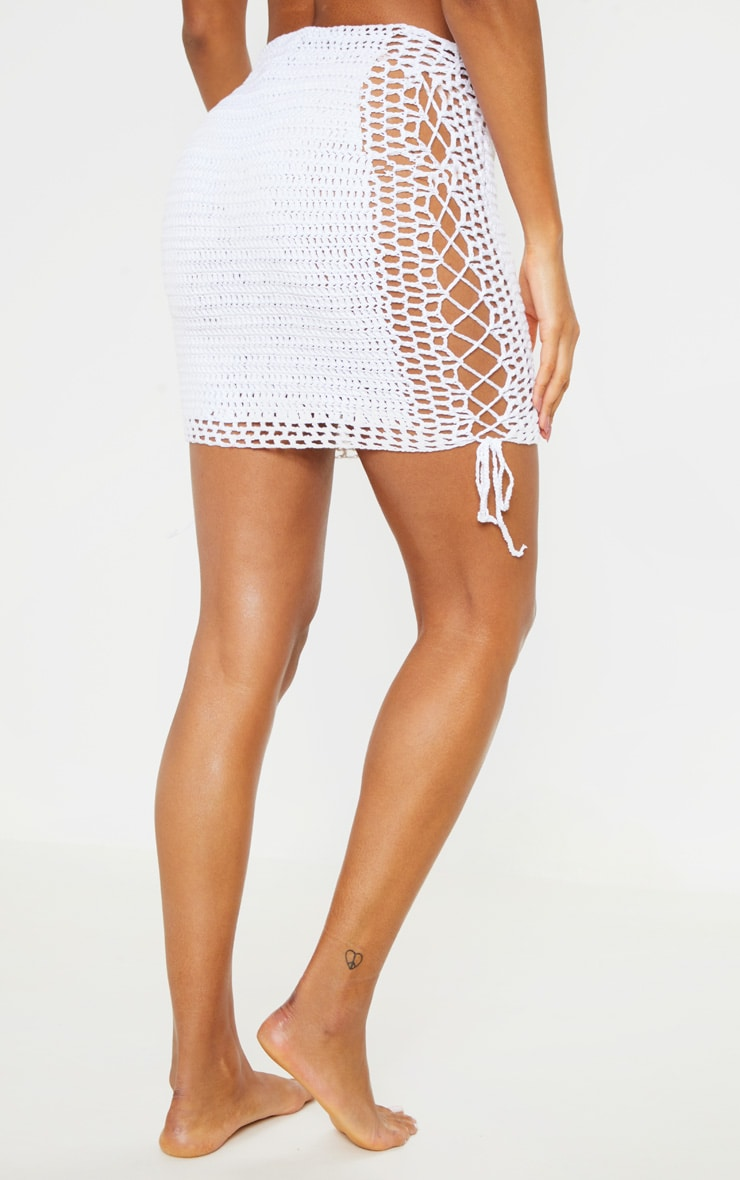 Cream Crochet Knitted Lace up Skirt 4