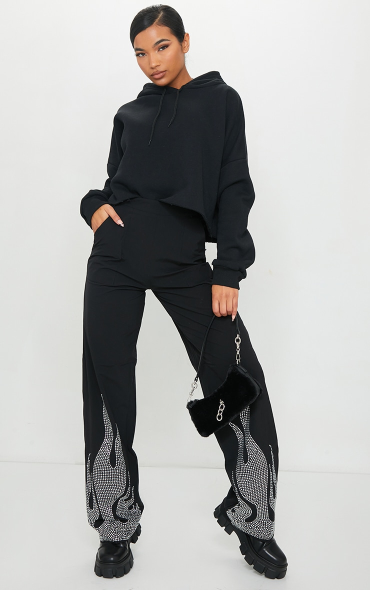 Black Diamante Flame Flare Leg Trousers