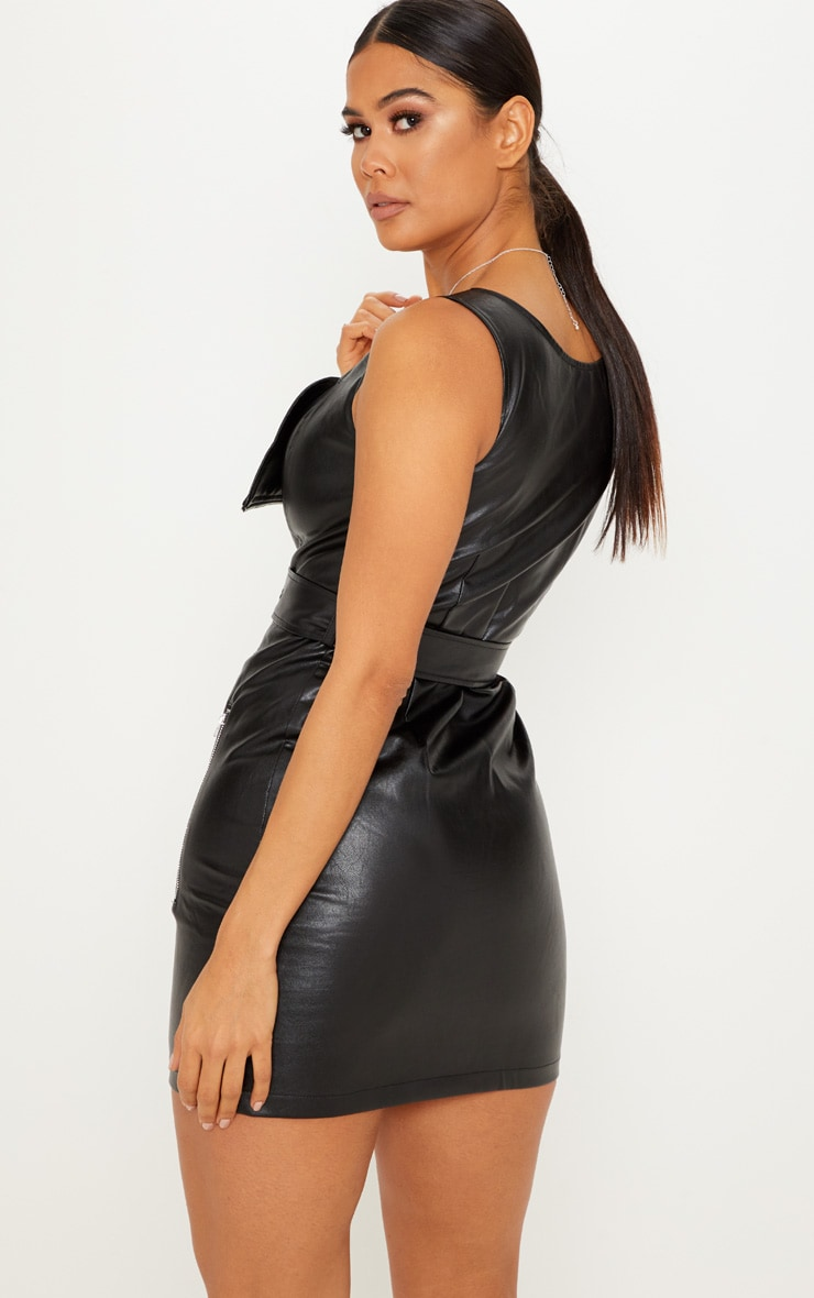 Black PU Zip Front Shift Dress 2