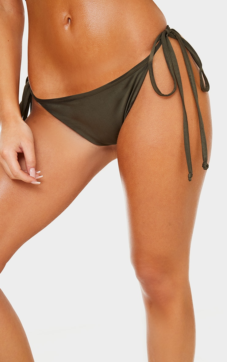Khaki Mix & Match Adjustable Tie Side Bikini Bottom 6