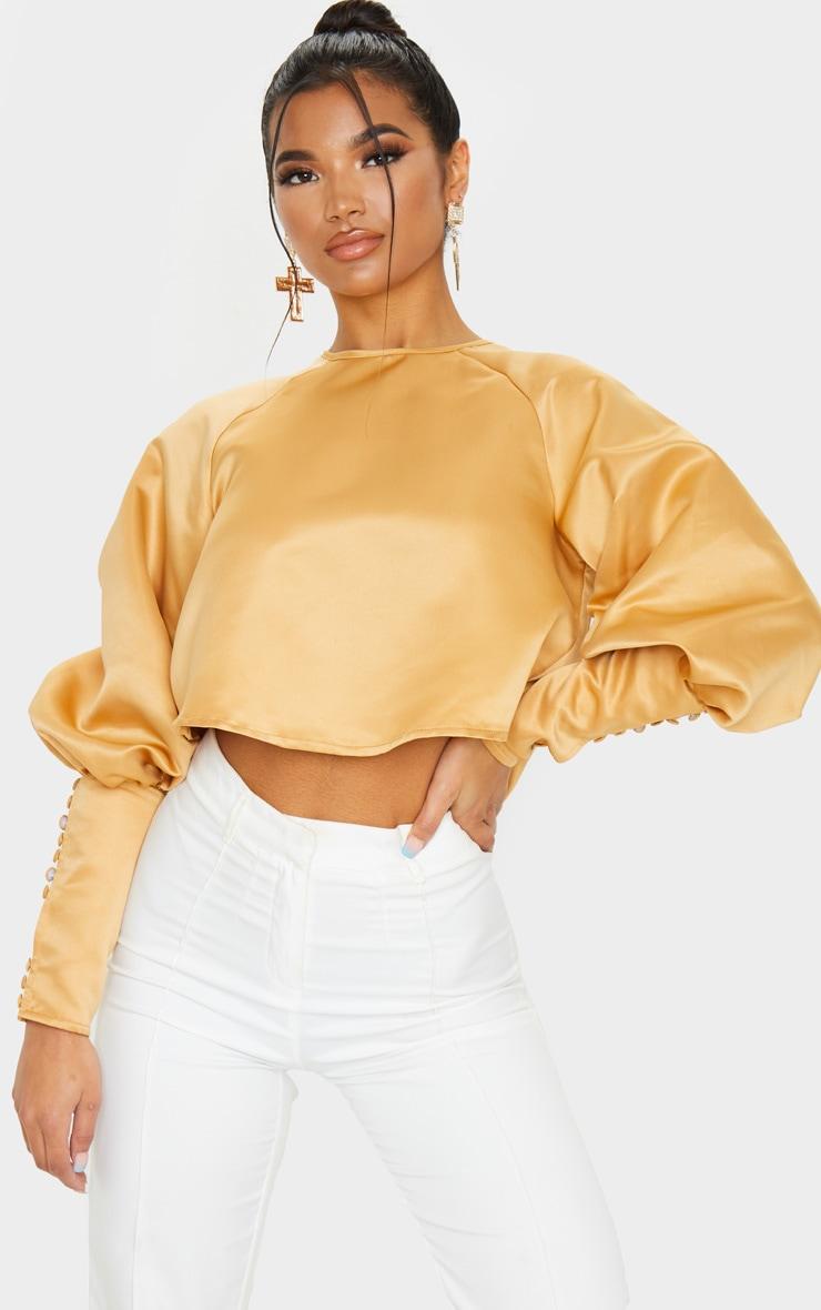 Tan Satin Puff Button Detail Long Sleeve Blouse 1