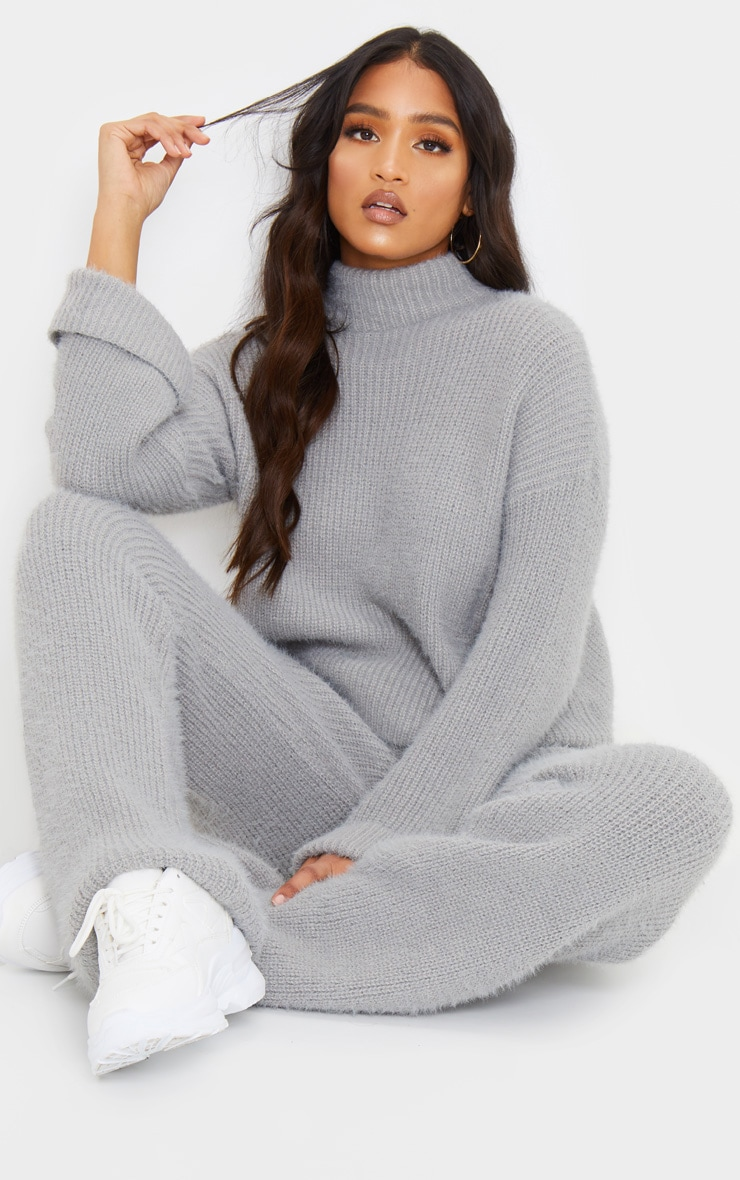 Grey Premium Fluffy Knitted Lounge Set 1