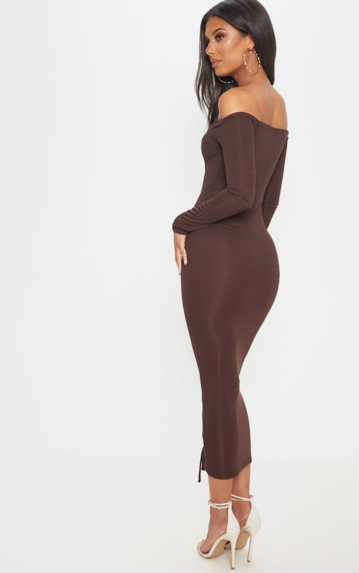 Chocolate Brown Ribbed Ruched Bardot Midi Dress 2