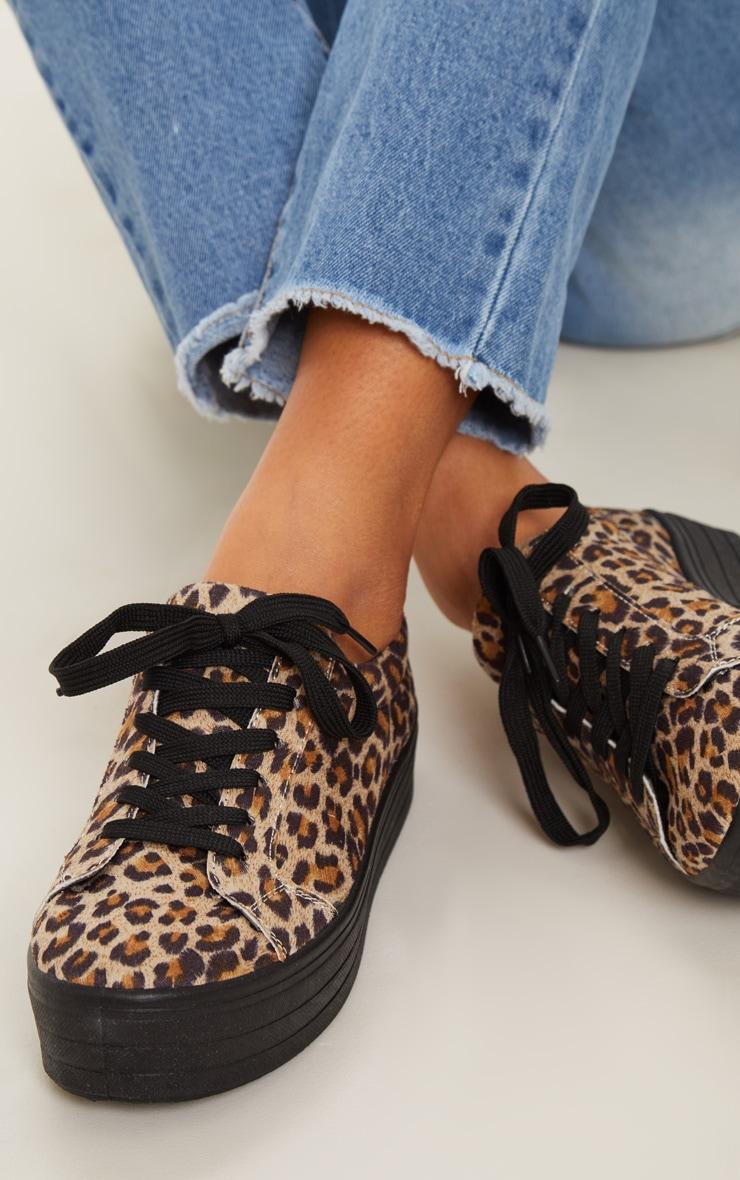 Leopard Faux Suede Flatform Sneakers  2