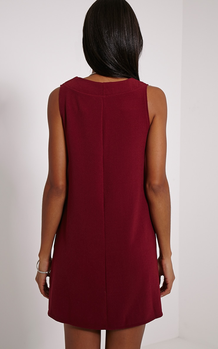 Haelyn Wine Plunge V Shape Loose Fit Binding Dress 2