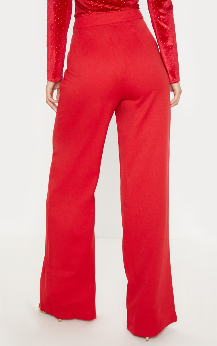 Red Formal Button Wide Leg Trouser 4