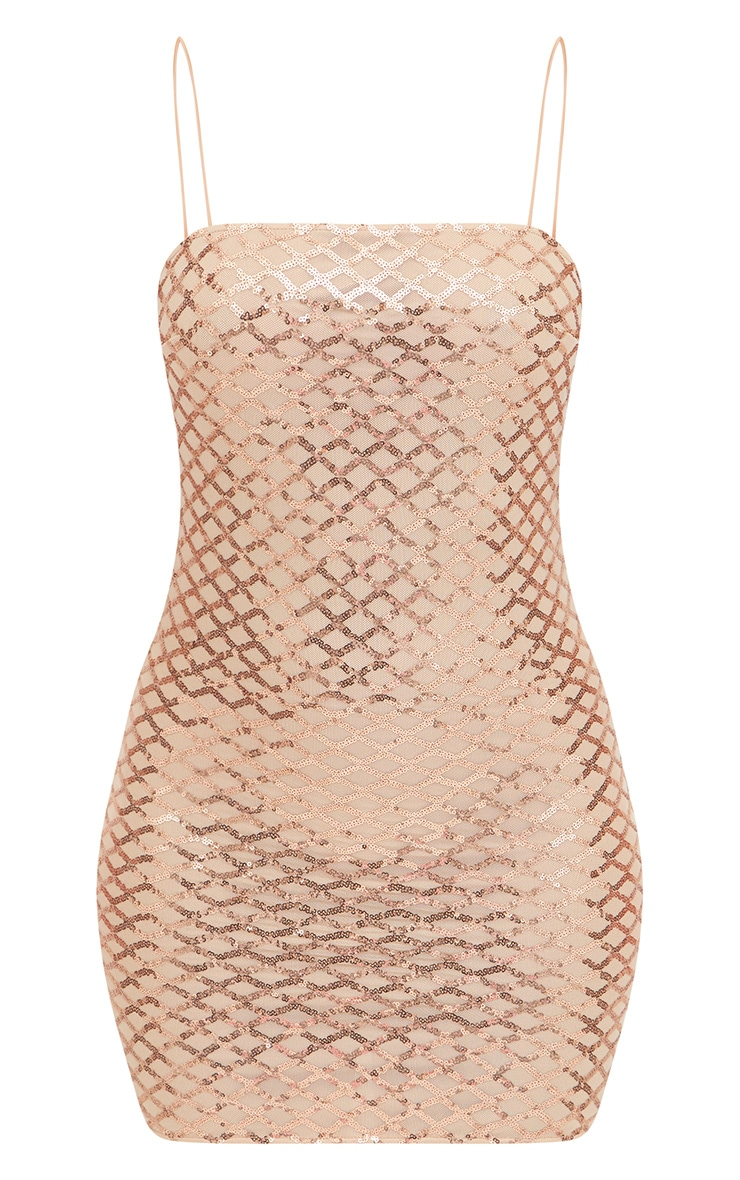 Rose Gold Strappy Sequin Straight Neck Bodycon Dress 3