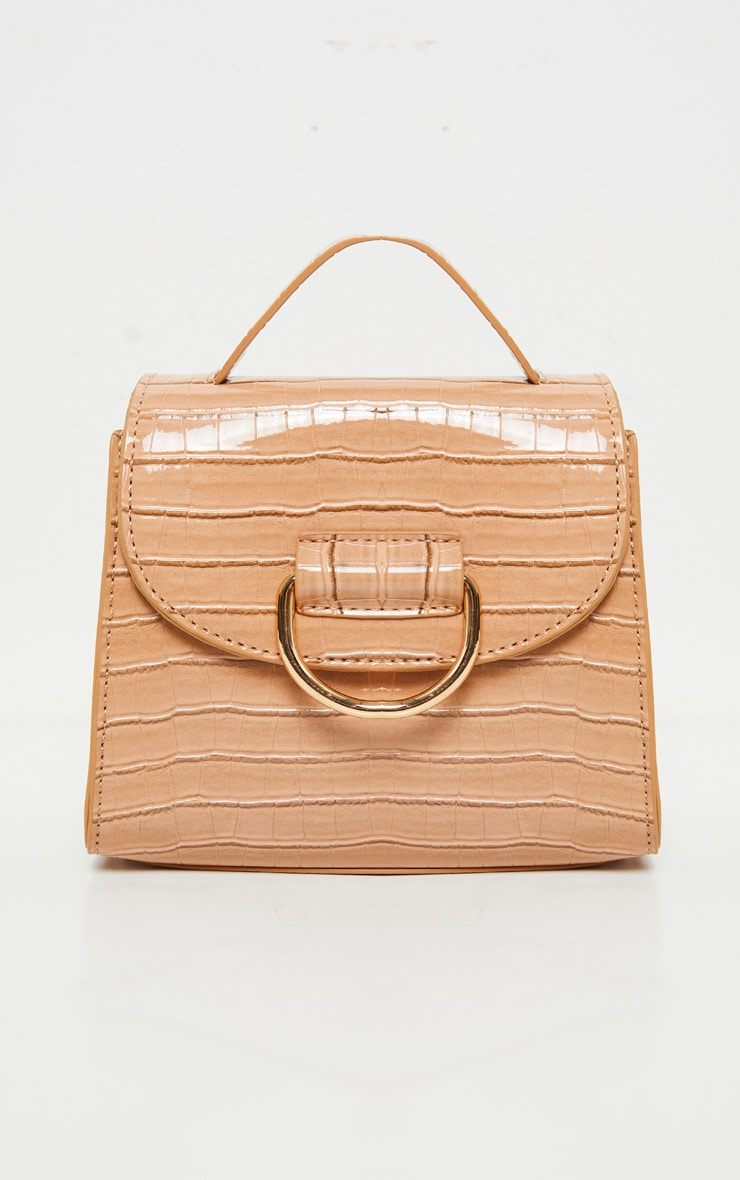 Nude Patent Croc PU Ring Detail Mini Bag 1