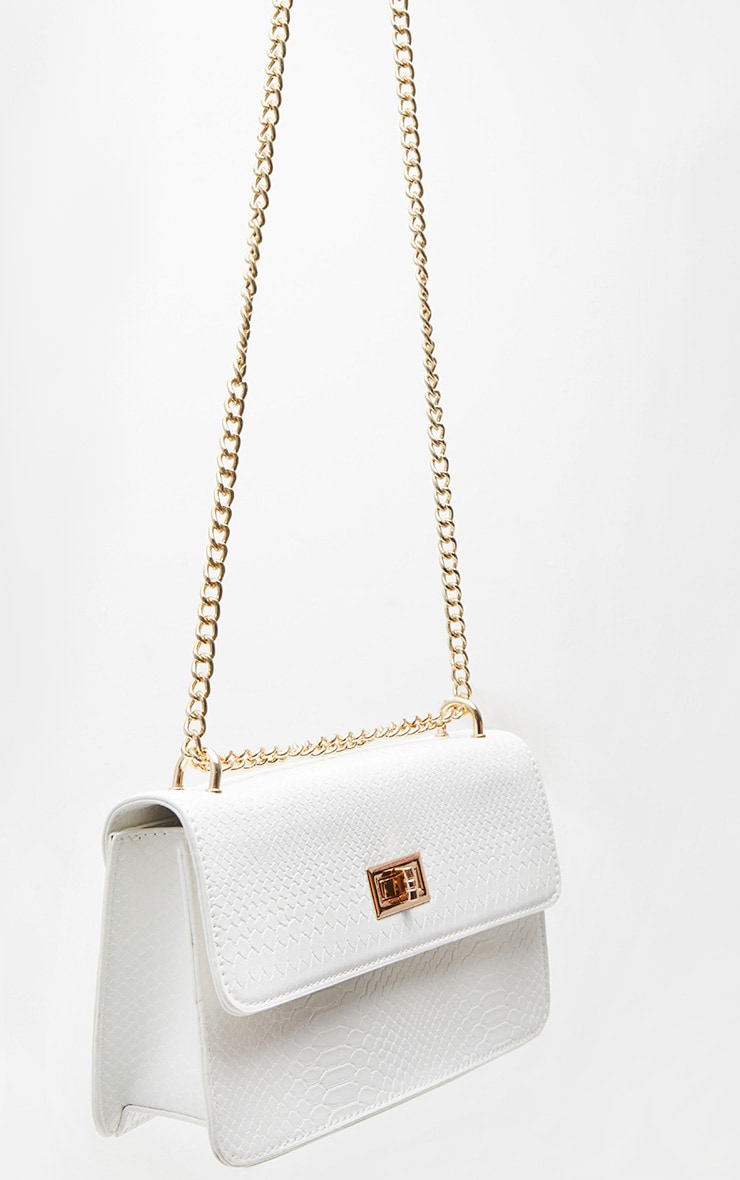White Croc Chain Cross Body Bag 4