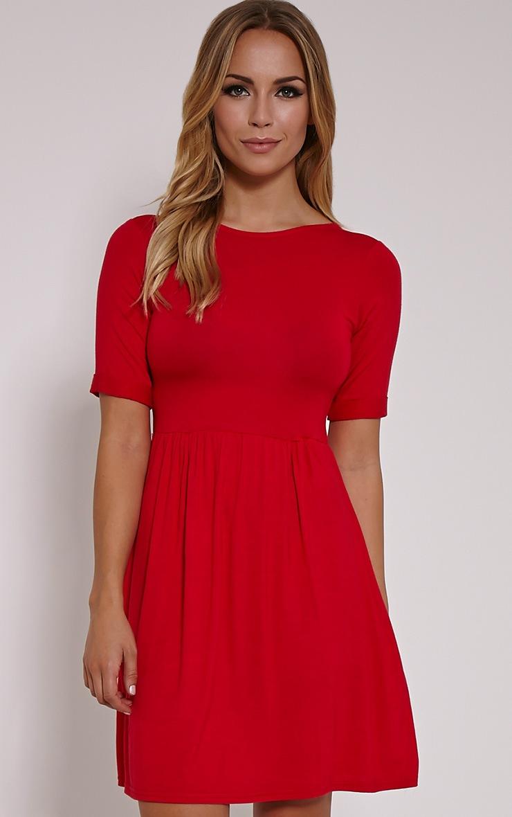 Blair Red 3/4 Scoop Back Jersey Skater Dress 1
