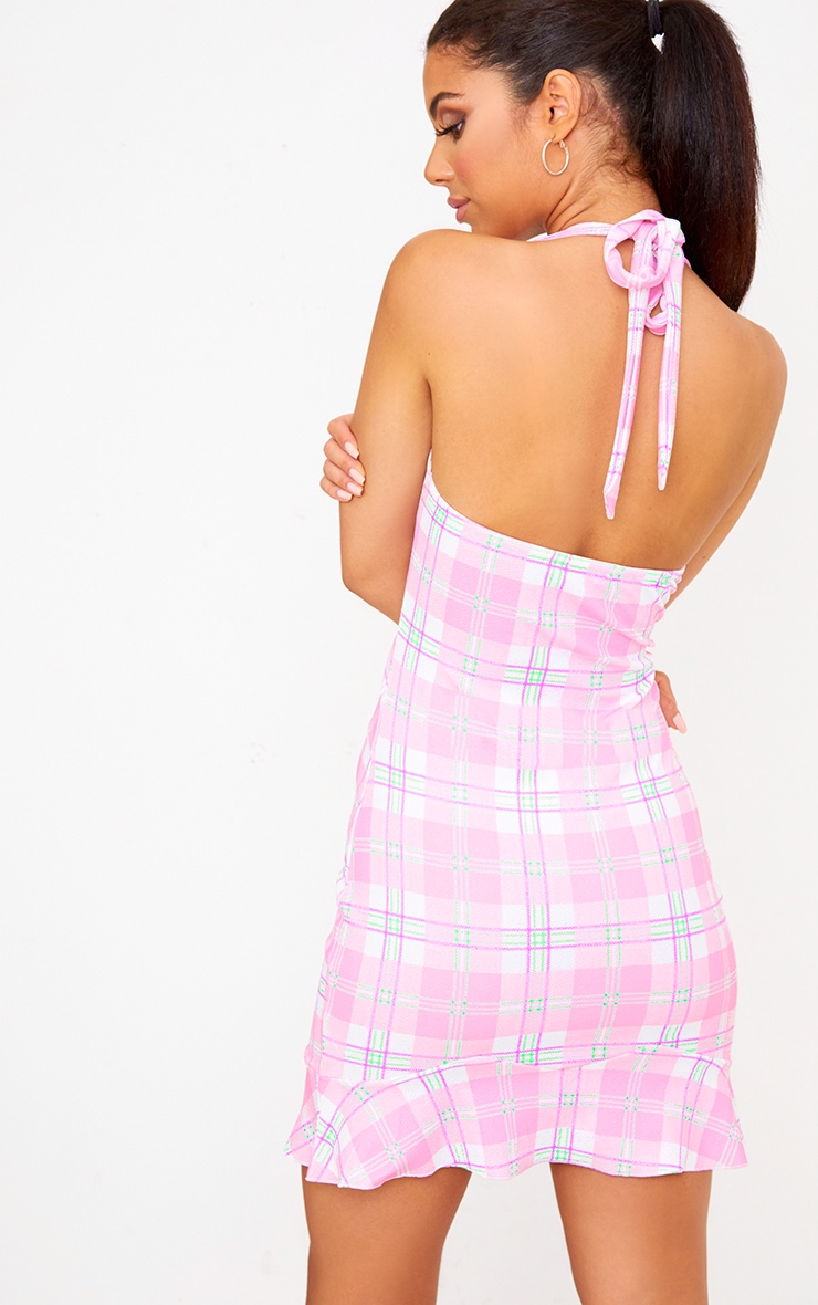 Pink Checked Halterneck Frill Detail Bodycon Dress 2