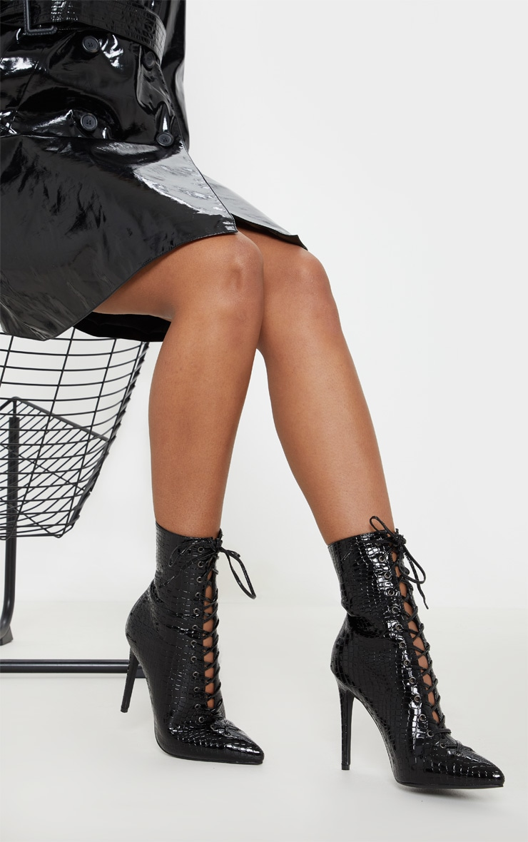 Black Croc Lace Up High Point Ankle Boot 1