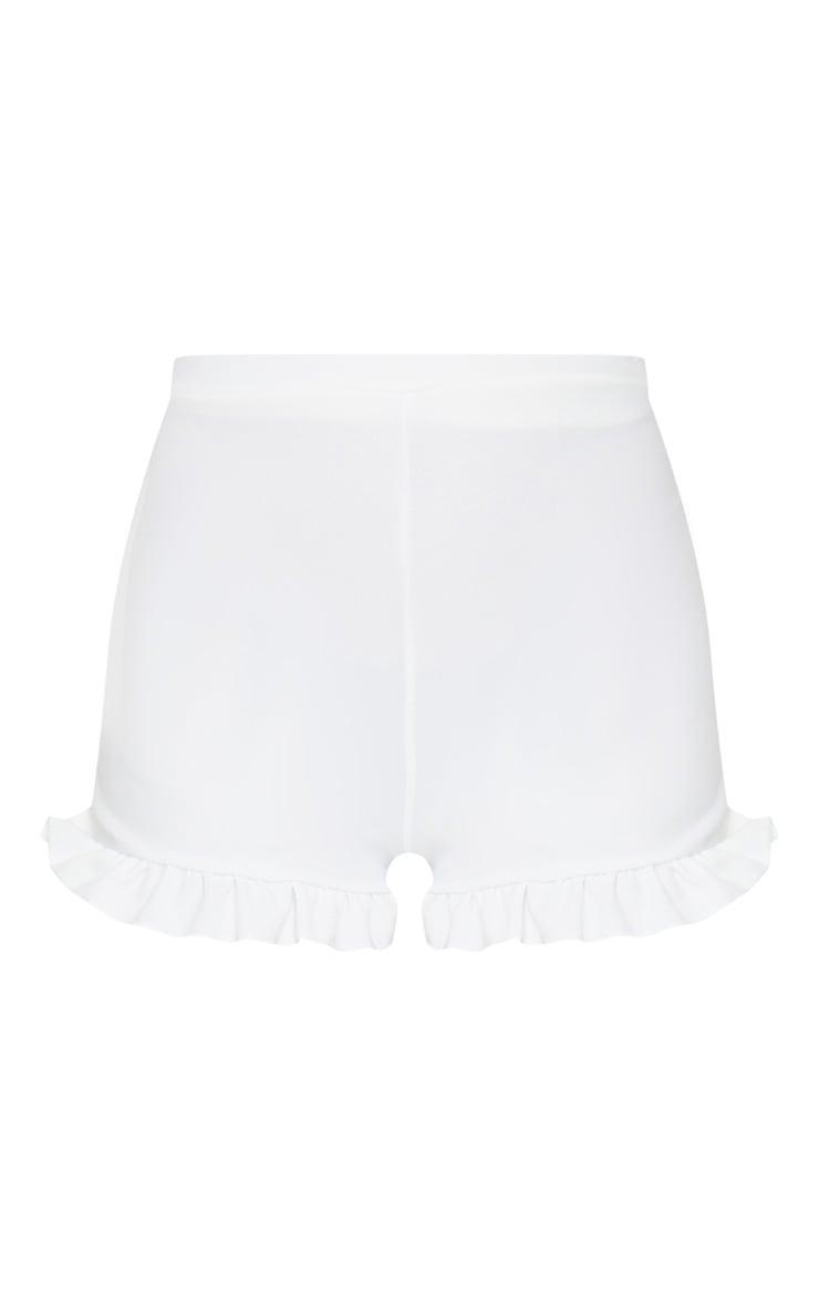 White Frill Hem Shorts 6