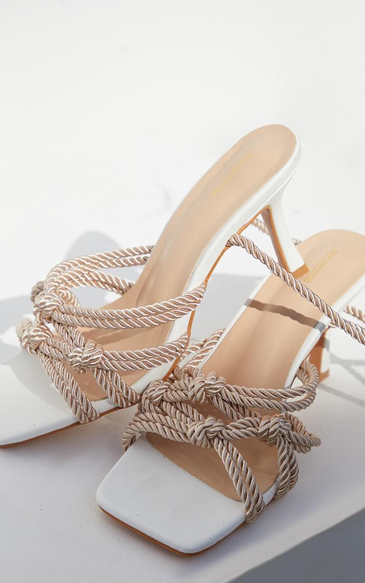 Sandales à talons bas et lacets en corde naturelle 4