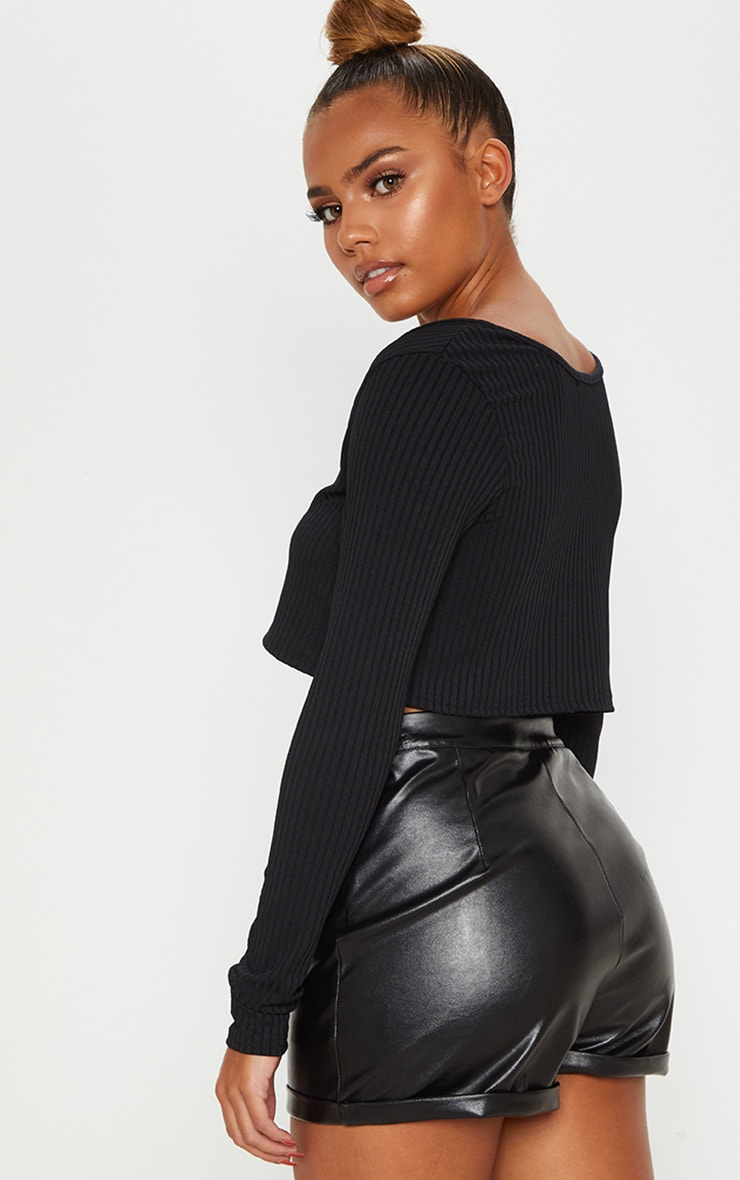 Black Long Sleeve Rib Raw V Crop Top 2