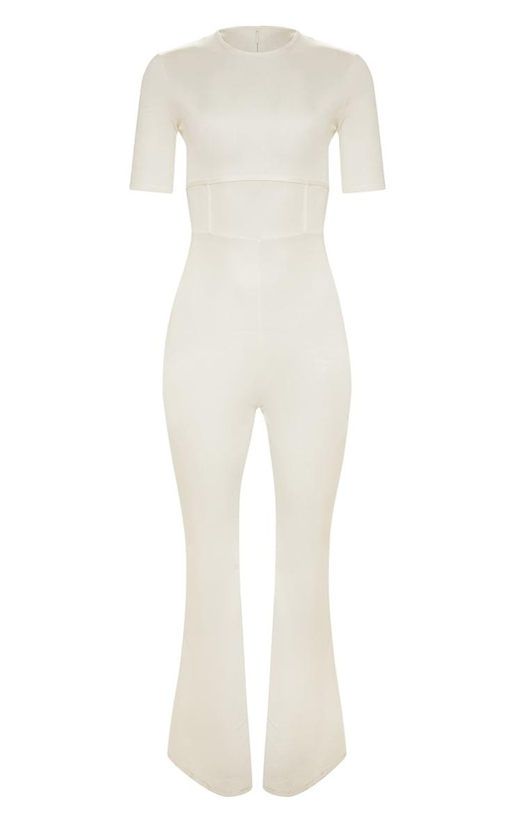 White Second Skin Short Sleeve Flare Leg Jumpsuit 3