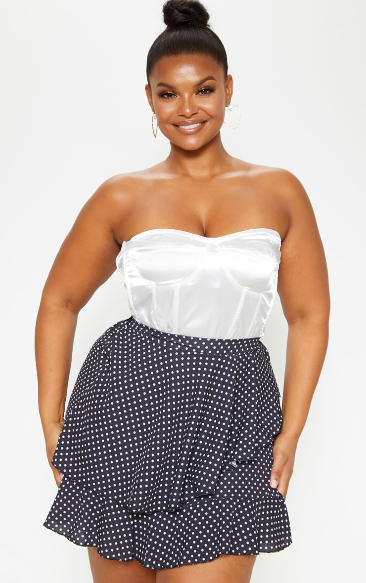 Plus Black Polka Dot Frill Detail Mini Skirt  1
