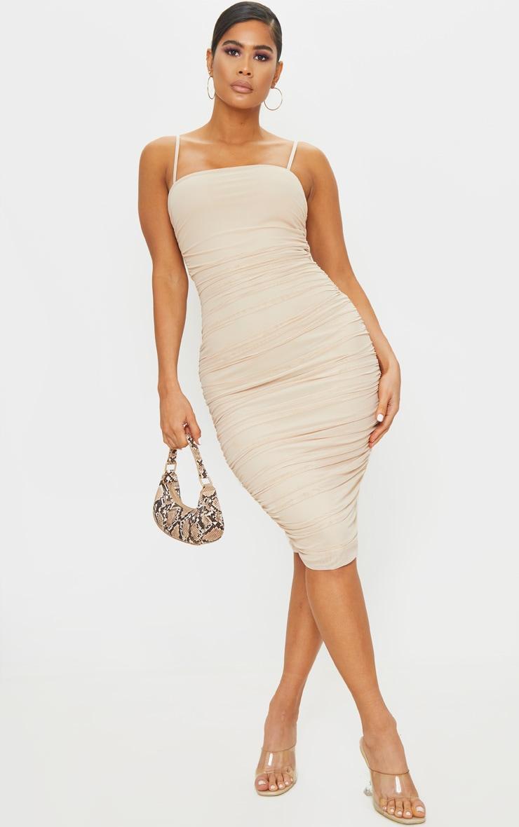 فستان ميدي خامة شبكية بلون البشرة بحمالات 1