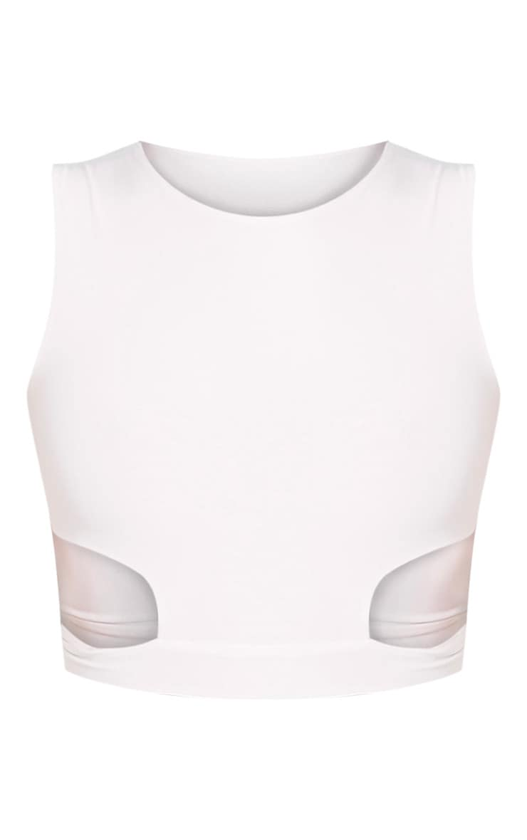 Mixie Cream Slinky Cut Out Sleeveless Crop Top 3