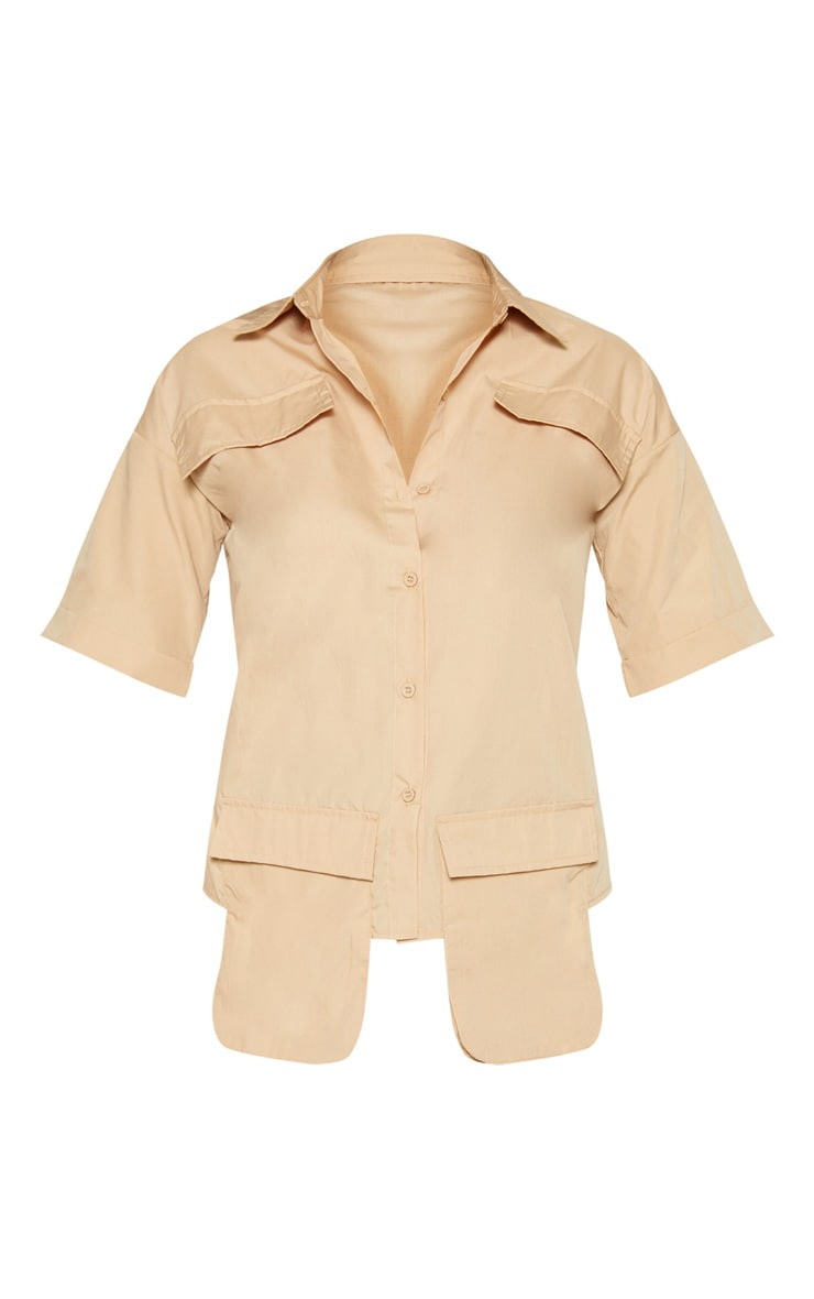 Beige Cargo Pocket Short Sleeve Shirt 3