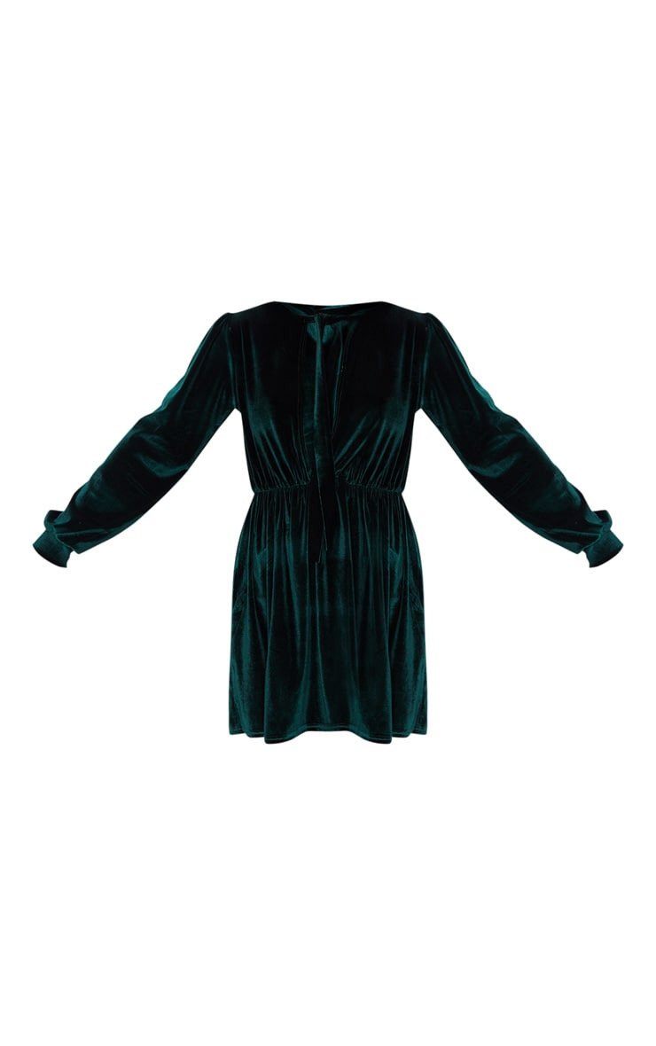 Emerald Green Velvet Key Hole Tie Neck Front Long Sleeve Shift Dress 3