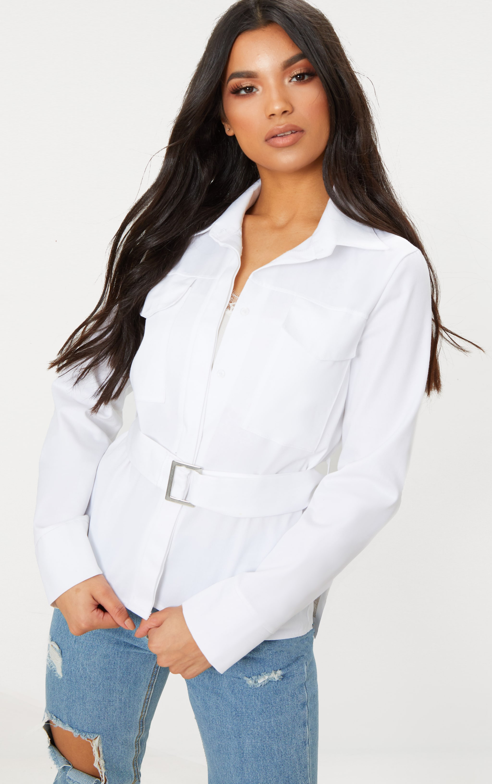 White Military Buckle Pocket Detail Shirt 1