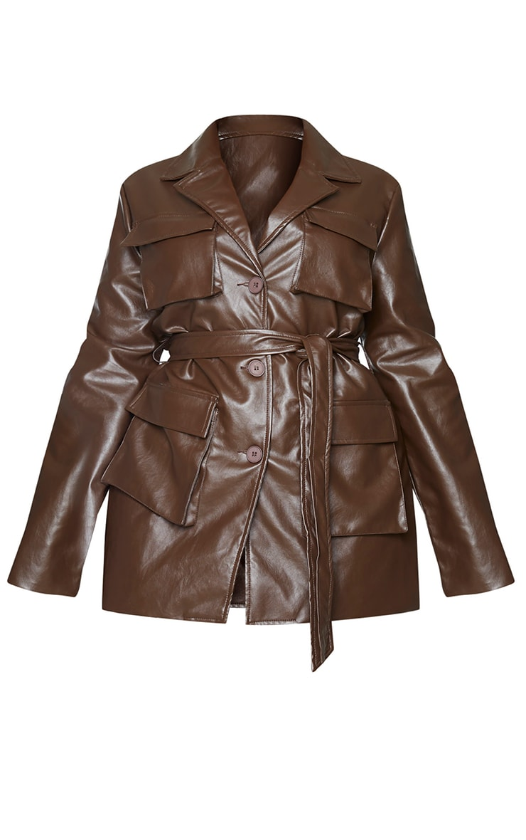 Plus Chocolate Brown PU Longline Pocket Front Jacket 5