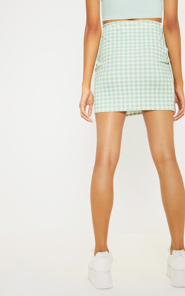 Mint Gingham Slit Front Mini Skirt  4