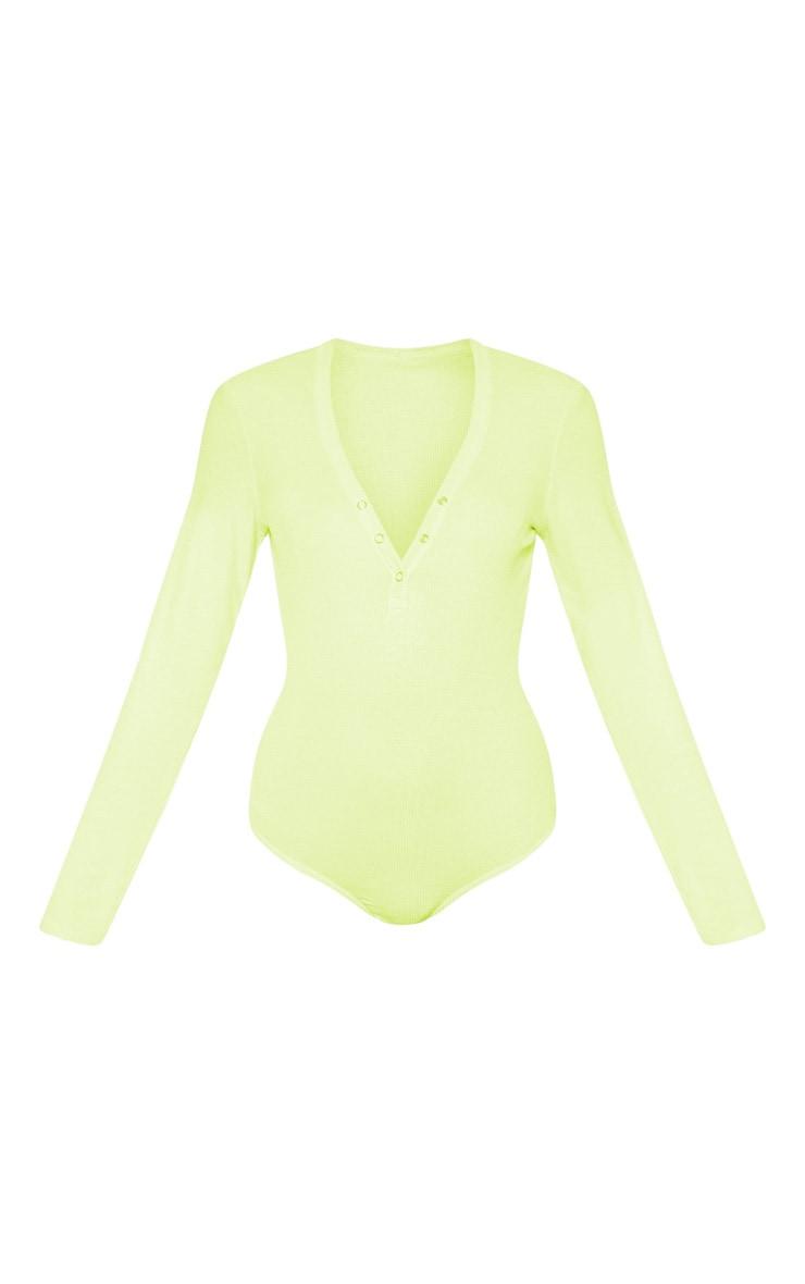 Lime Long Sleeve Popper Detail Thong Bodysuit 3