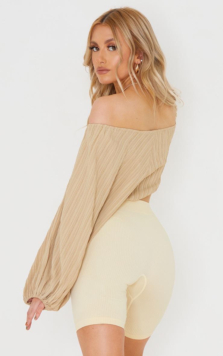 Camel Linen Look Pleated Oversized Off Shoulder Crop Top 2