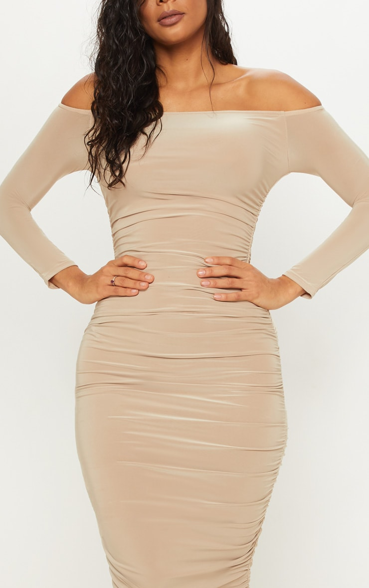 Stone Bardot Slinky Ruched Midaxi Dress 4