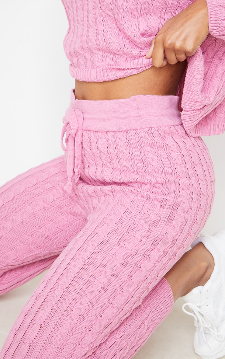 Dusty Pink Cable Knit Sweater & Legging Set 4