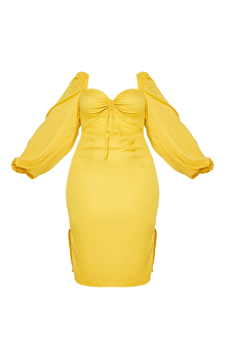 Plus Mustard Cut Out Ruched Bust Puff Sleeve Midi Dress 5