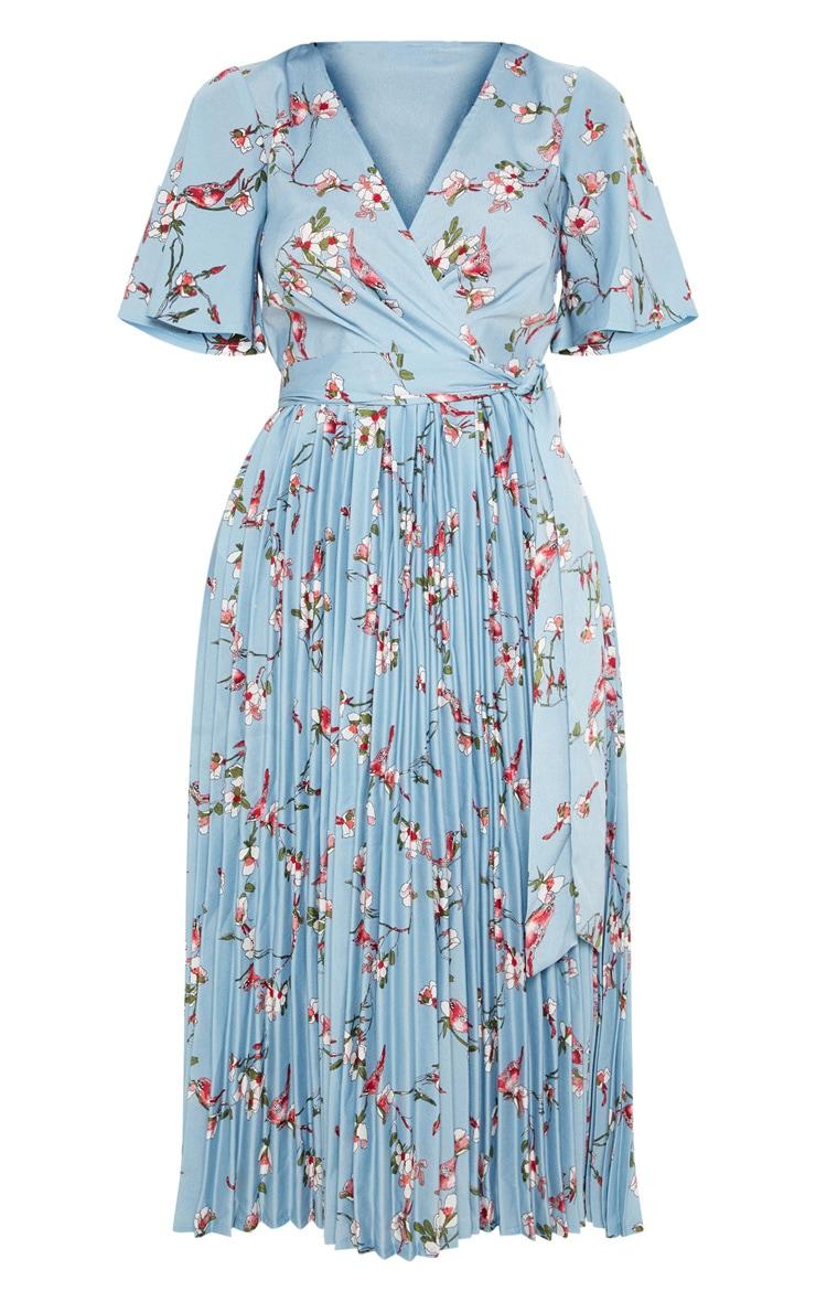 Robe mi-longue bleu cendré plissée à imprimé floral 3