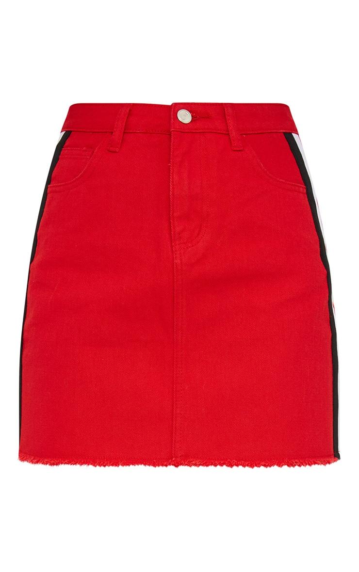 Red Sports Stripe Denim Mini Skirt 3