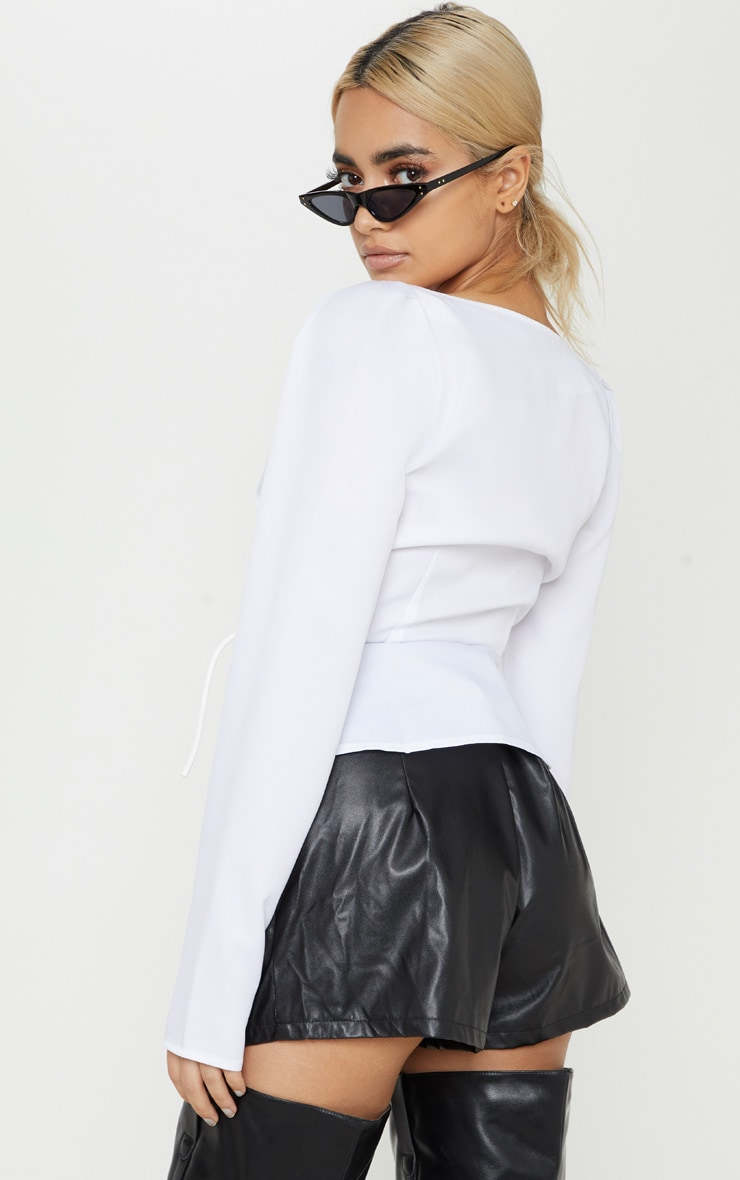 Petite White Long Sleeve Corset Blouse 2
