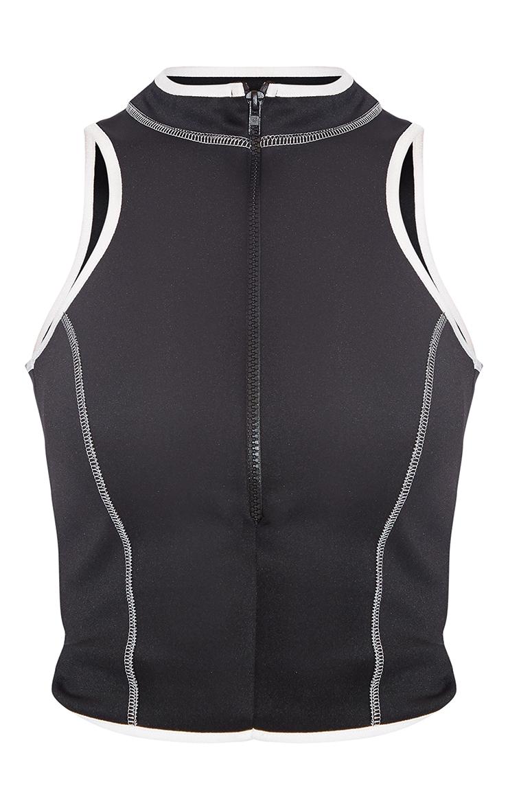 Black Scuba Binding Detail Zip Front Long Top 5