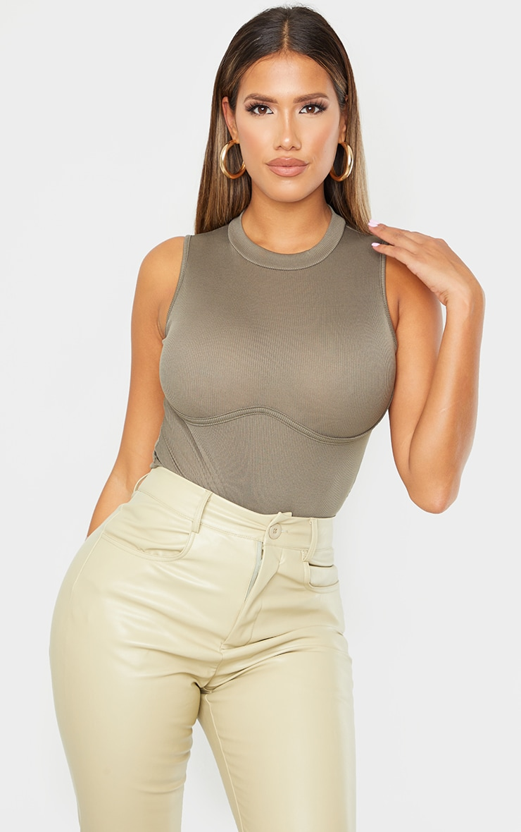 Shape Khaki Rib High Neck Underbust Detail Bodysuit 1