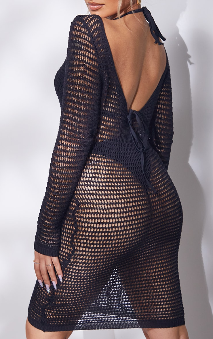 Petite Black Knitted Long Sleeve Midi Dress 4