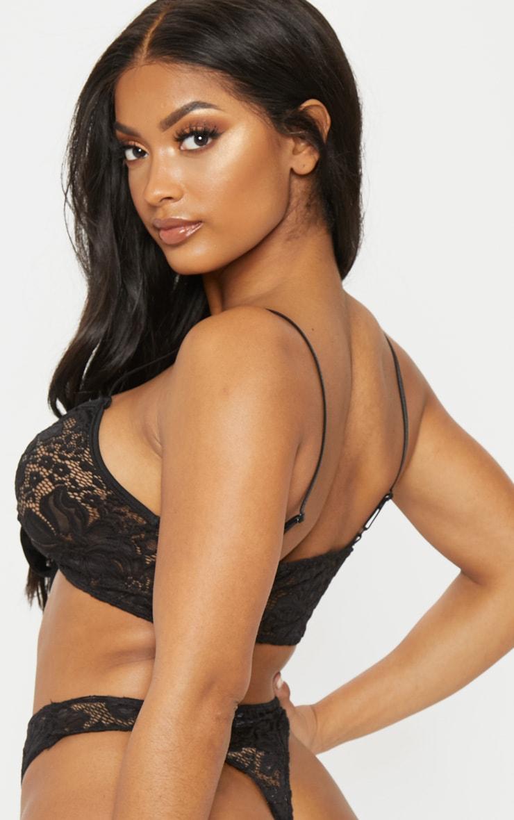 Shape Black Lace Tie Front Bra 2