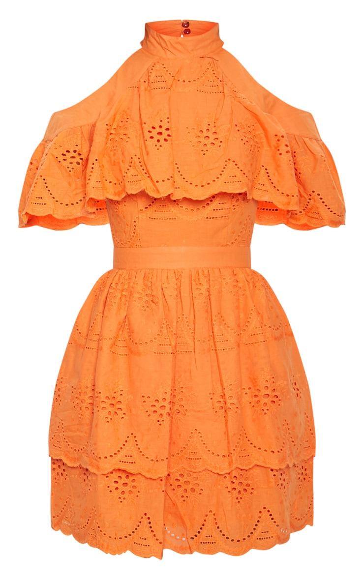 Bright Orange Broderie Anglaise Cold Shoulder Skater Dress 3