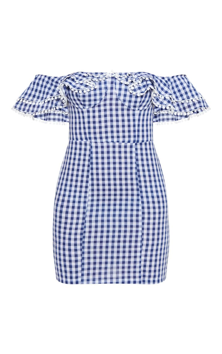 Navy Gingham Frill Bardot Bodycon Dress 3