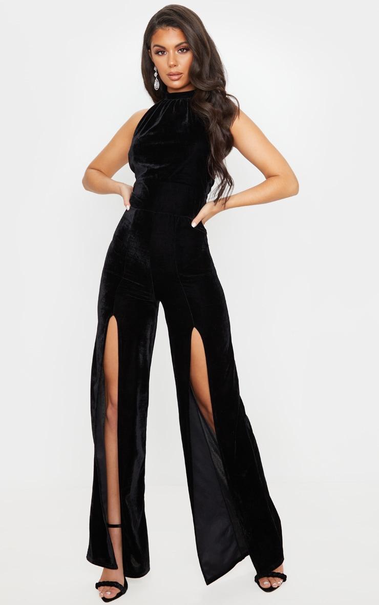 Black Velvet Halterneck Wide Leg Jumpsuit 1