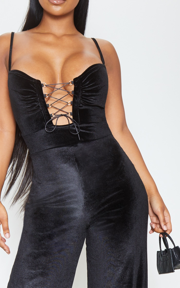 Black Velvet Lace Up Strappy Jumpsuit 5