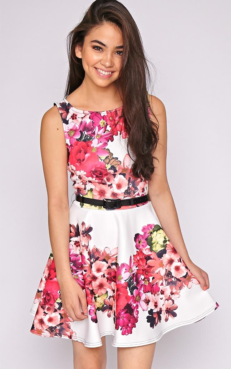 Corinne Pink Flower Skater Dress 4