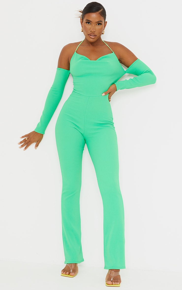 Recycled Bright Green Rib Cowl Neck Long Sleeve Thong Back Jumpsuit 2